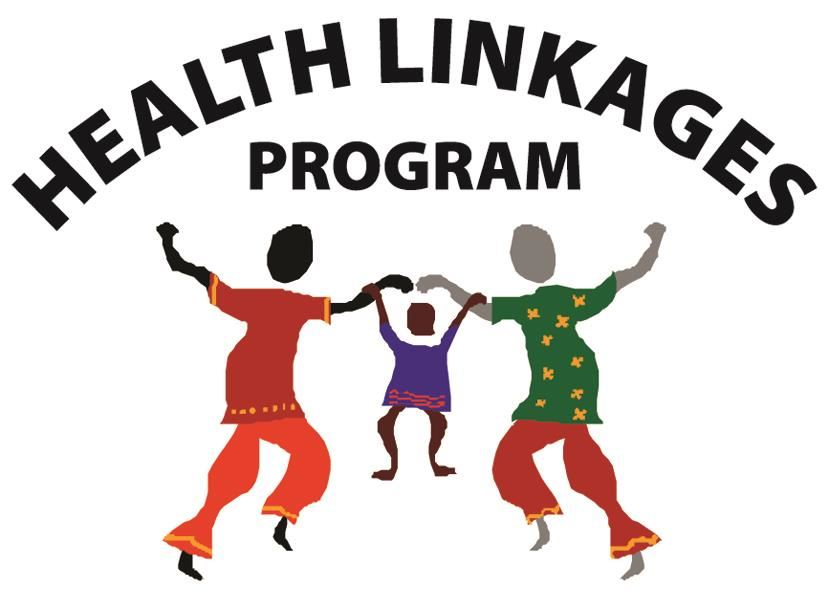 Health Linkages Program Logo. Parents holding a child by the hands