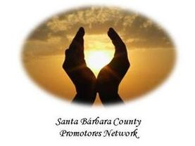 Santa Barbara County Promotores Network Logo. Two hads cuping the sun