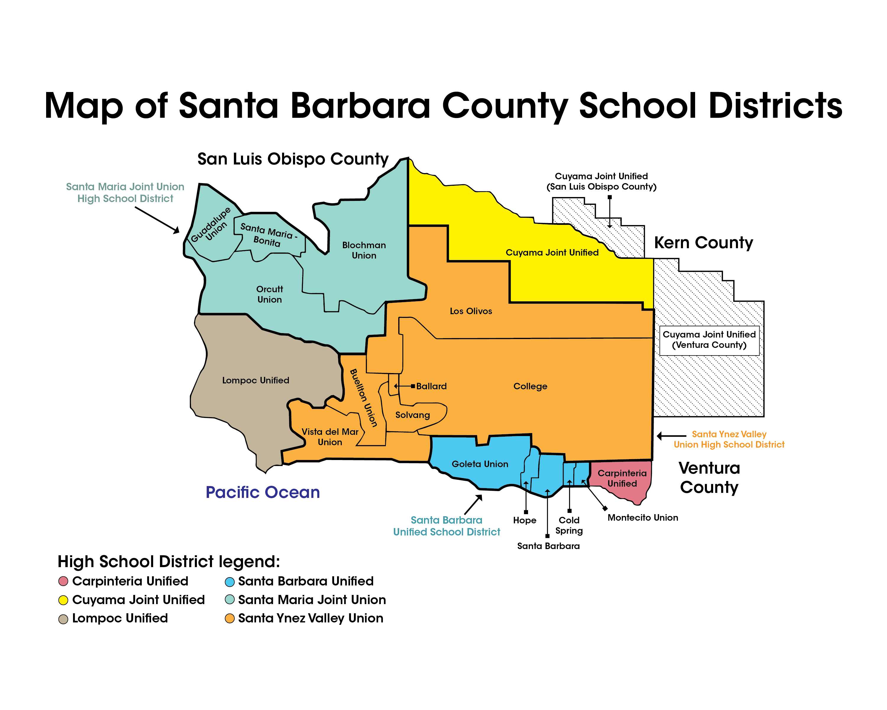 Map of School Districts in Santa Barbara County